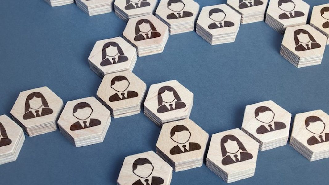 Organigramme sous forme de pièces héxagonale avec icone de personnage